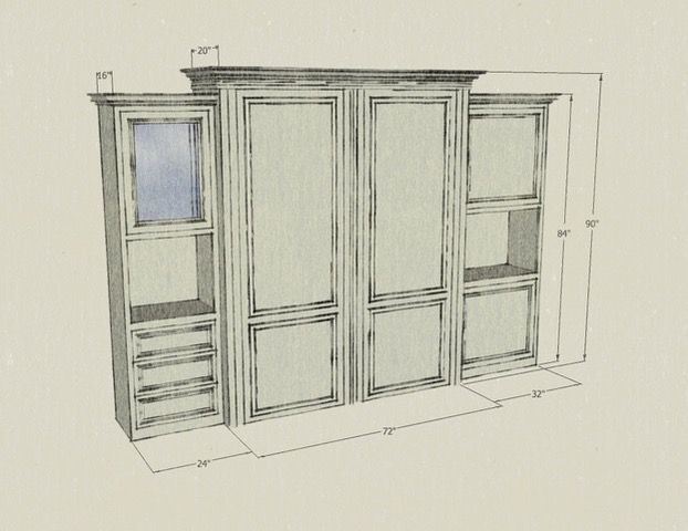 Beaumont Wallbed  3pc Unit #4 (Hand Drawn)